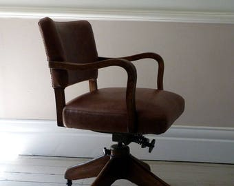 Vintage Leather Swivel Chair / Desk Chair