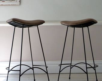 Pair of Vintage 1960s Leather Bar Stools