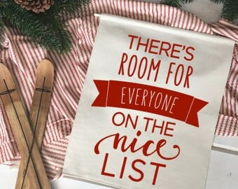 Room for everyone on the Nice List/ Christmas wall decor/ christmas decoration/ wall hanging/ farmhouse christmas/ christmas sign/ red black