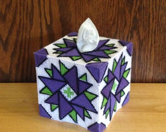 Plastic Canvas Tissue Box Cover Dazzling Dahlia, dahlia flower, Christmas Gift, Living Room Decor, Purple Dahlia Flower, Quilt Look Design