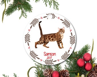Cat Ornament, Bengal Cat Ornament, Pet Ornament, Personalized Cat Ornament, Custom Cat Ornament, Ceramic Ornament, Cat Lover Gift, Pet Gift