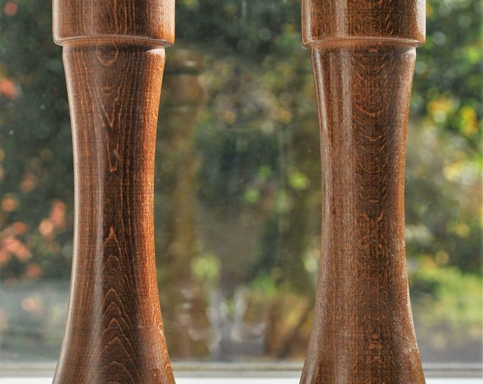 "Mid Century Modern 9"" Peugeot Freres France Wood Salt & Pepper Shaker Grinder"