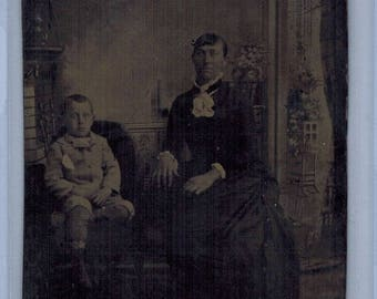 Antique Tintype Unidentified Mother and Son 2 X 3