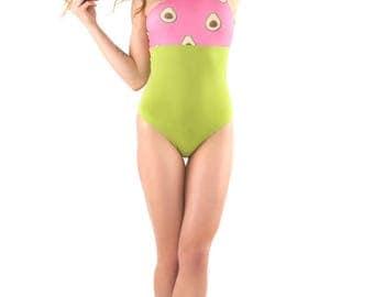 One-piece // Asymmetric shoulders //  Reversible // Avocado print // green, pink, yellow