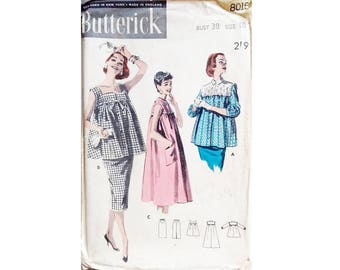 """UNUSED ? Butterick 8015 Vintage 50's Summer Maternity Smock Top Dress Blouse Shirt and Skirt Sewing Pattern Size Bust 38"""" UK 16"""