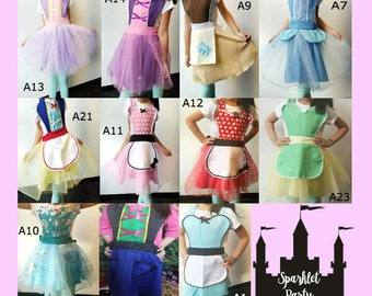 Princess Inspired Apron Ready to Ship - Snow White Minnie Elsa Alice Tiana Rapunzel Anna Cinderella