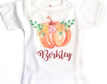 Pumpkin Patch Outfit, Personalized Fall Shirt, Baby Girl Fall Outfit, Watercolor Pumpkin, Pumpkin Patch Shirt, Baby Girl Fall Shirt
