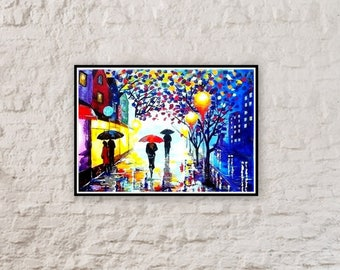 Original Abstract Painting Acrylic - A Couple With Umbrella - Forest Rain Landscape - Colorful Abstract Palette Knife - Ready To Hang