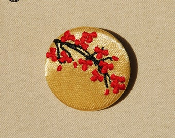 Small embroidered brooch Japanese cherry tree
