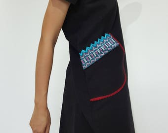 DR0001 Navy Mini Cotton Dress,made by Hilltribe fabric, Mini dress's very lovely work, Woven red cloth on neck and sleeve chest and pocket.