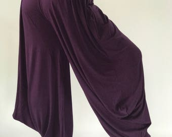 YG0096 Dark purple Yoga Pant Low Cut Harem Pants Cotton made from 100% Rayon, yoga pants, comfortable lady for yoga lover