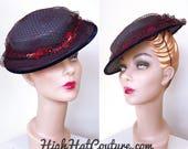 1940s Hat / Vintage / Tilt Hat / Straw / Navy Blue / flowers / Burgundy Netting