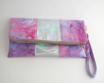 Pink And Purple Hand-dyed Wristlet
