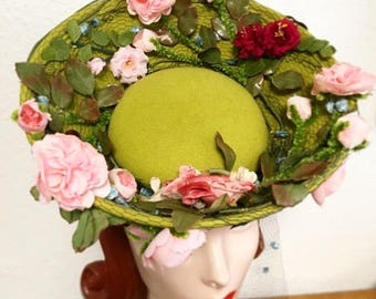 Custom Order: 1940's-Style Felt Tilt Hat with Roses and Vintage Chenille Dot Veiling