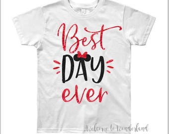 BEST DAY EVER Sparkly Glitter Minnie Bow tee tank top shirt top baby kids girls ladies adult women outfit