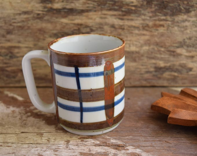 Featured listing image: Mid-century Mug - Hand painted mug - Made In Japan - Plaid Mug - Coffee cup - ceramic tea cup - Stoneware mug, Coffee Mug, Vintage drinkware