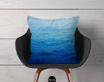 Caribbean Waters - Outdoor Throw Pillow, Blue Beach Style Accent, Outdoor Exterior Nautical Decor Chaise Lounge Furnishing 16x16 18x18 20x20