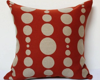 Red pillow, Knoll hot spots pillow cover, red and beige pillow cover, modern pillow cover, knoll fabrics, dots pillow, mid-century pillow