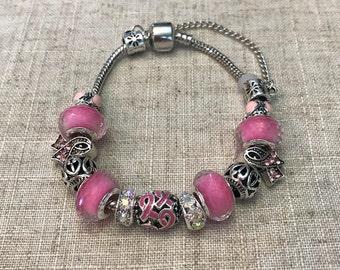Breast cancer awareness bracelet, breast cancer survivor bracelet, Cancer awareness bracelet, Pink charm bracelet, All cancer awareness