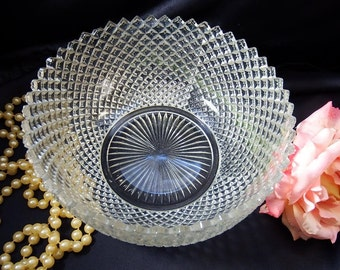 Depression Glass circa 1930s, Large Fruit Bowl in Miss America Clear by Anchor Hocking