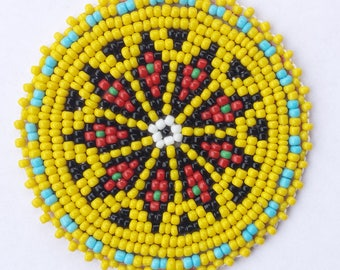 2 inch FLOWER YELLOW Beaded Rosette