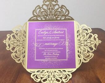 Gold Shimmer Purple Foil Laser Cut Square Wedding Invitations Navy Gold Purple Foil Wedding Laser Cut Traditional Wedding Invites Laser Cut