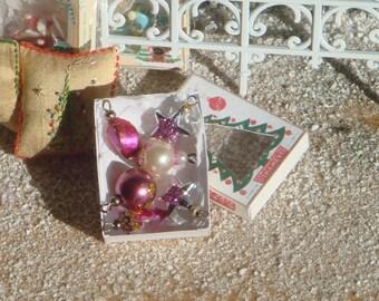 Dollhouse christmas  ornament box. 1:12 Miniature christmas decorations for dollhouses. Miniature ornaments for christmas.