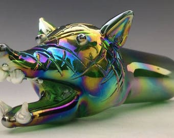 Iridescent Wolf Glass Tobacco Pipe - H*134M
