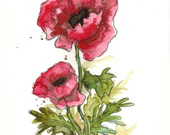 Pink Poppy (original watercolor)