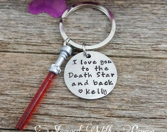 Valentine's day gift for him, Love You to the Death Star and Back , Star Wars Keychain, Force, Light saber Key chain,  Nerdy Gift