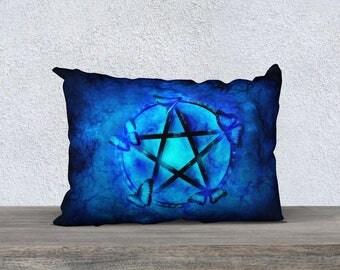 blue pillow cover, Pagan pillow,  pentagram pillow,butterfly art, pillow cover, decorative pillow, toss pillow, fantasy art, throw pillow