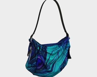 peacock print Origami Tote Bag, purse, blanket, scarf