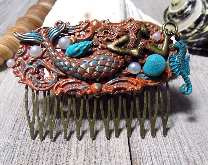 haind painted Victorian style mermaid hair comb