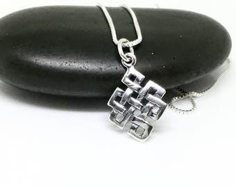 Celtic Knot Necklace Sterling Silver Celtic Pendant Shield Knot Talisman Protective Celtic Endless Knot Silver 925