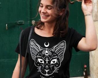 Sphynx cat shirt - Pastel goth shirt - Moon child shirt, Aesthetic shirt, Yoga shirt, Soft grunge, Space cat shirt