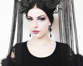 Gothic headpiece/witch headpiece/halo headpiece/halloween/gala nocturna/fantasy/gothic/whitby goth/flower criwn/crown/muerte