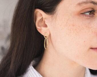 Gold Linked Hoop Earrings, Dainty Hoop Earrings, Modern 14K Gold Fill Earrings, Dainty Gold Earrings, Silver, Rose Gold, LE440