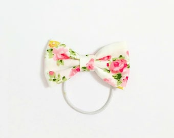 Mini Pink Rose Floral Bow Hair Tie