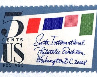 10 Vintage Postage Letter Writing Stamps // Vintage Midcentury Modern Stamped Envelope // 5 Cent Postage Stamps for Mailing