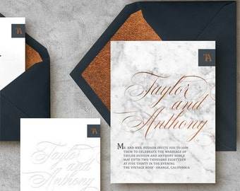 Copper and Navy Marble Invitation