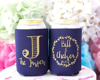 Wedding Can Cooler, Monogram Favor, Rustic Wedding Favor, Beer Can Cooler, Personalized Can Cooler, Custom Can Hugger, Wedding Favor