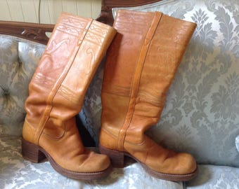 1970s Vintage Frye Boots Tan Leather Campus Style Black Label Sz 7.5 Hippie Boho
