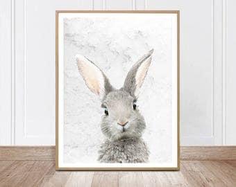 Rabbit Wall Art Rabit Print Nursery Animal Decor Woodland Animal, Digital Download Large Poster Woodland Baby Shower Bunny Forest Animal