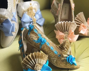 Antique Gold Lace Teal Blue Costume Heels Shoes 1920s Marie Antoinette Style Cosplay Baroque Rococo Fairytale Fantasy Metallic Burlesque