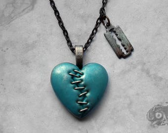 Gothic 'This Love' stapled loveheart & razor blade necklace / Turquoise + silver heart + gunmetal chain / Macabre Horror Punk Goth jewellery