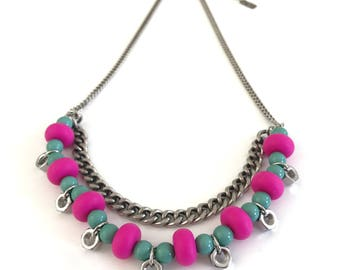 Double layer pink turquoise silver necklace, industrial necklace, pink silicone beads necklace, nulika