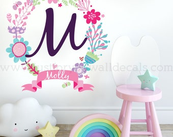 Monogram Wall Decal, Flower Wall Decal, Name Wall Decal, Nursery Wall Decals, Nursery Wall Art, Wall Decal, Monogram Decal, Decal 02-0003