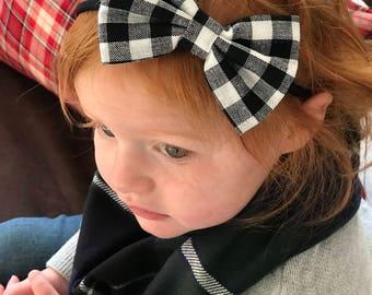 Christmas Gingham Fabric Hair Bow, Nylon Headband, Black and White Gingham Nylon Headband, Easter Headband, Hair Bow