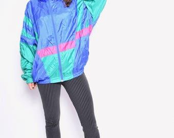 Vintage 80's Color Blocking Windbreaker / Multicolor Zipper Sports Jacket - Size Extra Large