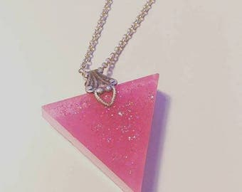 Triangle pendant pink glitter pastel goth prism necklace